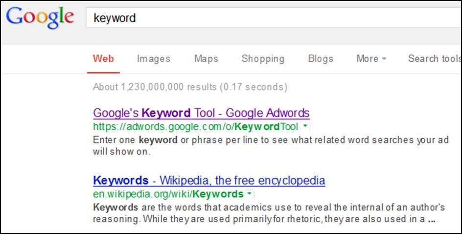 Google's keyword SEO tool