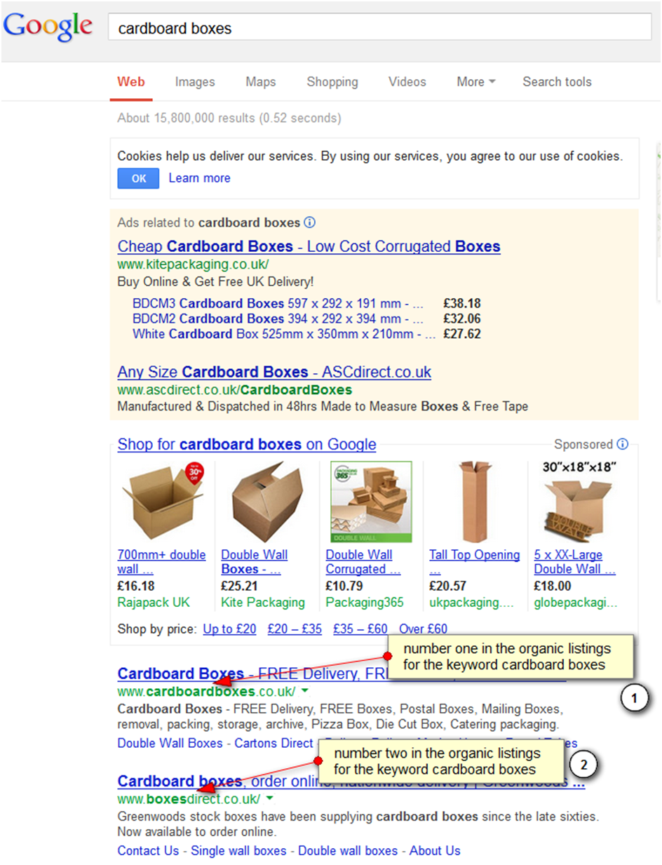 Google search results for cardboard boxes