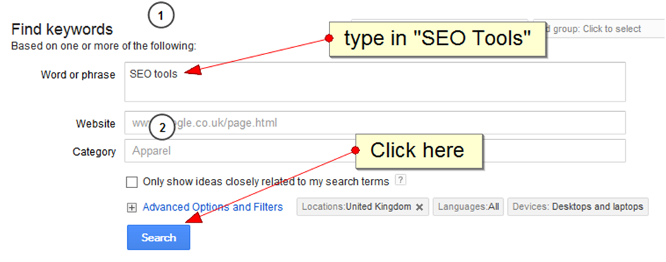 How to execute a search for the keyword SEO tools
