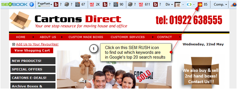 Where to click on the SEM Rush icon