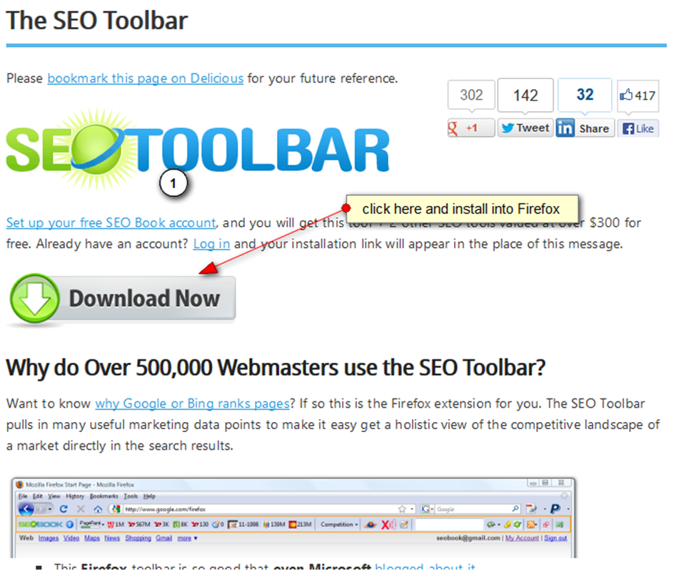 Where to download the SEO toolbar
