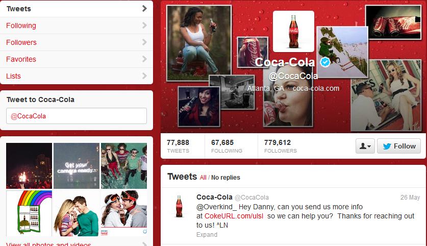 coke cola twitter shot