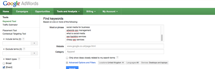 the google keyword tool in action