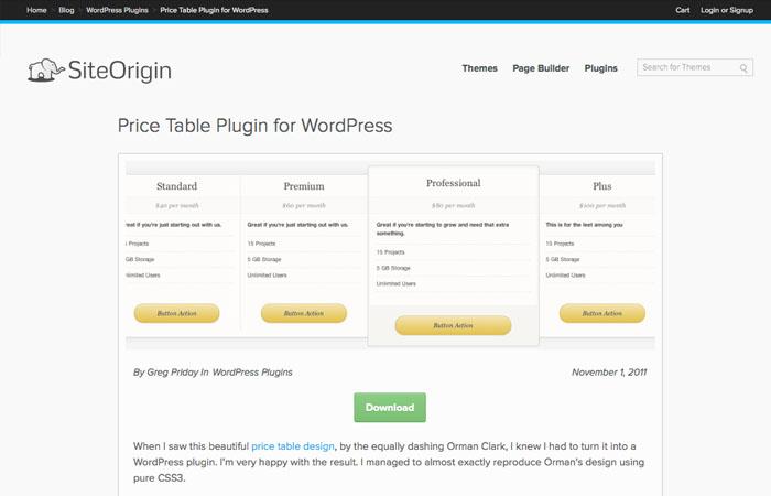 price table plugin