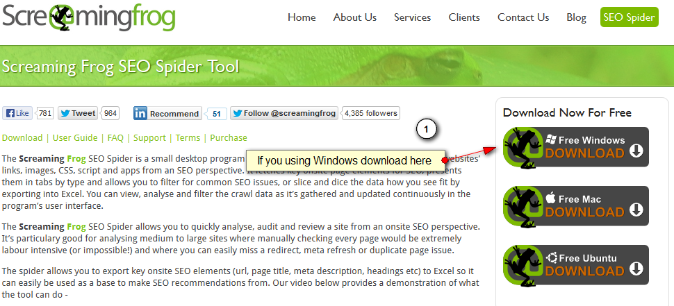 Where to find the Screaming Frog download option