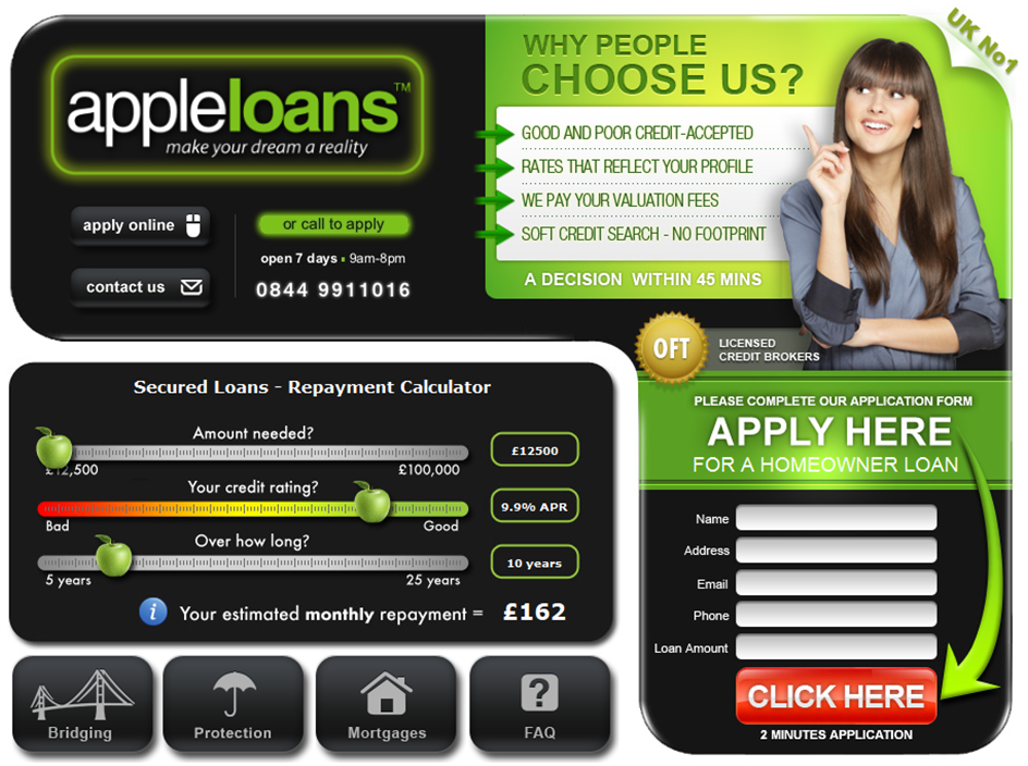 Apple Loans landing page for the keyword secured loans