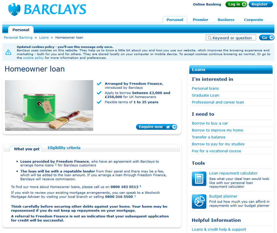 Barclays Landing Page for Unsecured Loans